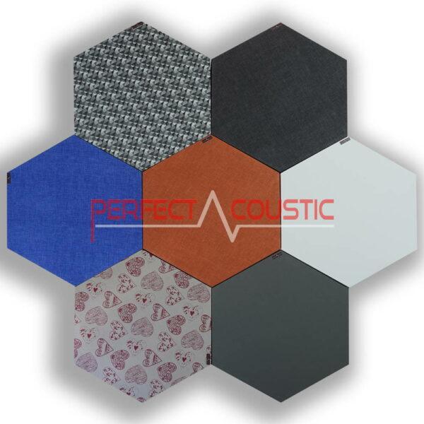 Paneles acústicos hexagonales estampados-colores