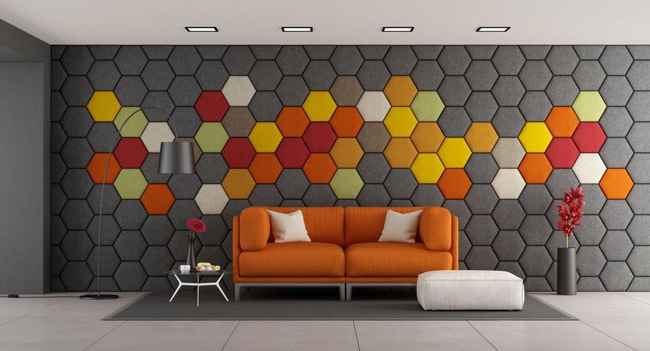 Paneles acústicos hexagonales estampados en la pared