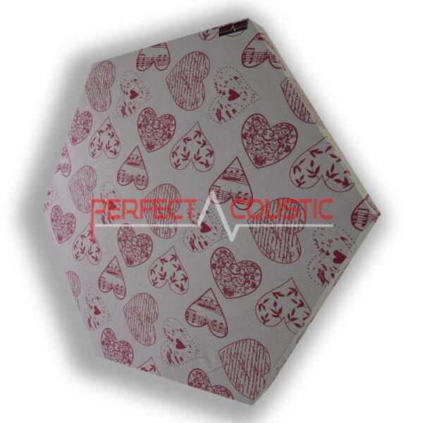 Patrón de corazón de panel acústico hexagonal estampado