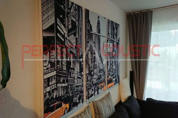 a printed acoustic panel placed on the wall in the cinema room (2)
