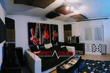 diseño acústico de cine en casa con amortiguador de bajos