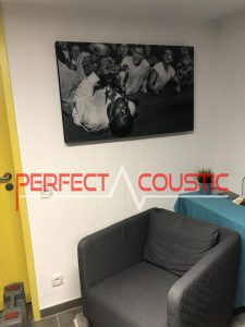 printed acoustic panel on the wall